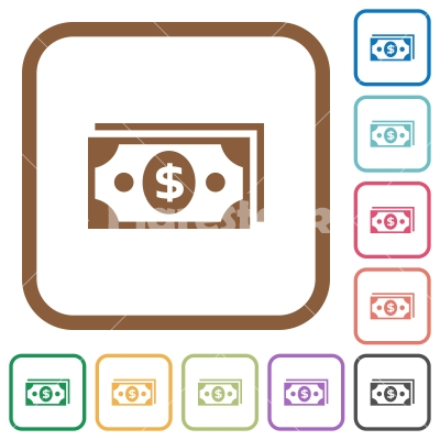 Dollar banknotes simple icons - Dollar banknotes simple icons in color rounded square frames on white background
