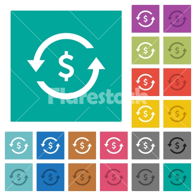 Dollar pay back square flat multi colored icons - Dollar pay back multi colored flat icons on plain square backgrounds. Included white and darker icon variations for hover or active effects.