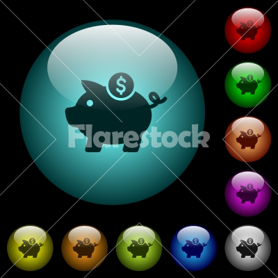 Dollar piggy bank icons in color illuminated glass buttons - Dollar piggy bank icons in color illuminated spherical glass buttons on black background. Can be used to black or dark templates