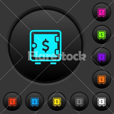 Dollar strong box dark push buttons with color icons - Dollar strong box dark push buttons with vivid color icons on dark grey background