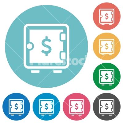 Dollar strong box flat round icons - Dollar strong box flat white icons on round color backgrounds