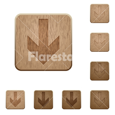 Down arrow wooden buttons - Set of carved wooden down arrow buttons in 8 variations.