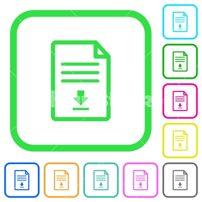 Download document vivid colored flat icons - Download document vivid colored flat icons in curved borders on white background