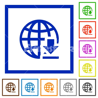 Download from the internet framed flat icons - Set of color square framed Download from the internet flat icons