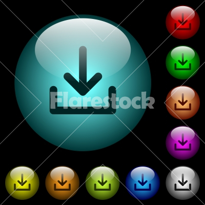 Download symbol icons in color illuminated glass buttons - Download symbol icons in color illuminated spherical glass buttons on black background. Can be used to black or dark templates