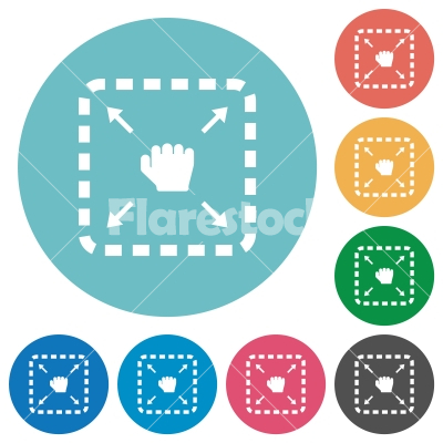 Drag item flat round icons - Drag item flat white icons on round color backgrounds
