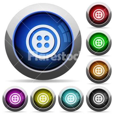 Dress button with 4 holes round glossy buttons - Dress button with 4 holes icons in round glossy buttons with steel frames