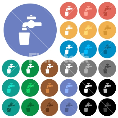 Drinking water round flat multi colored icons - Drinking water multi colored flat icons on round backgrounds. Included white, light and dark icon variations for hover and active status effects, and bonus shades.