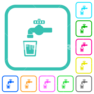 Drinking water vivid colored flat icons - Drinking water vivid colored flat icons in curved borders on white background