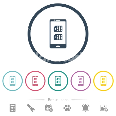 Dual SIM mobile flat color icons in round outlines - Dual SIM mobile flat color icons in round outlines. 6 bonus icons included.