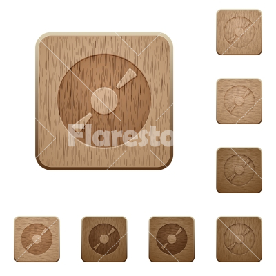 DVD wooden buttons - Set of carved wooden DVD buttons in 8 variations.