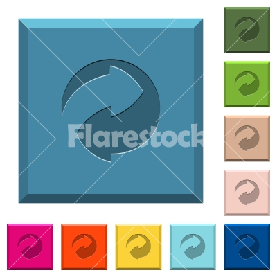 Eco packing symbol engraved icons on edged square buttons - Eco packing symbol engraved icons on edged square buttons in various trendy colors