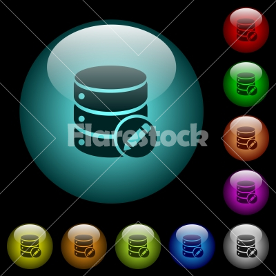 Edit database icons in color illuminated glass buttons - Edit database icons in color illuminated spherical glass buttons on black background. Can be used to black or dark templates