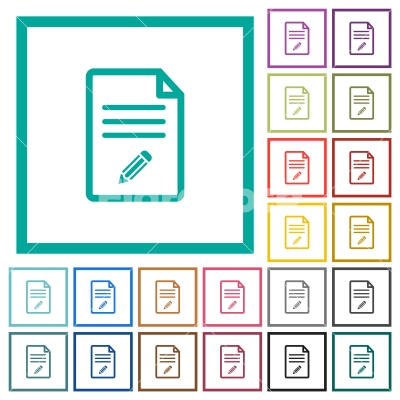 Edit document flat color icons with quadrant frames - Edit document flat color icons with quadrant frames on white background