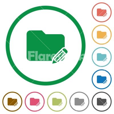 Edit folder outlined flat icons - Set of edit folder color round outlined flat icons on white background