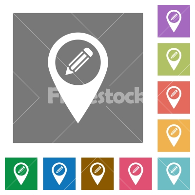 Edit GPS map location square flat icons - Edit GPS map location flat icons on simple color square backgrounds