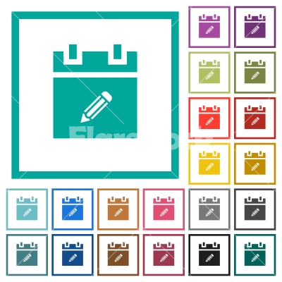 Edit schedule item flat color icons with quadrant frames - Edit schedule item flat color icons with quadrant frames on white background