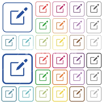 Editbox with pencil outlined flat color icons - Editbox with pencil color flat icons in rounded square frames. Thin and thick versions included.