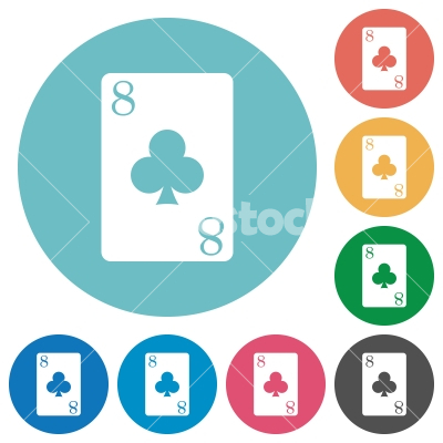 Eight of clubs card flat round icons - Eight of clubs card flat white icons on round color backgrounds