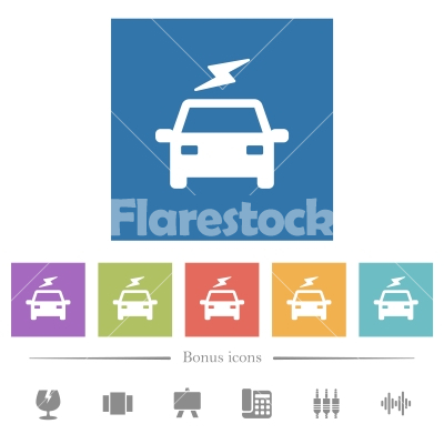 Electric car with flash flat white icons in square backgrounds - Electric car with flash flat white icons in square backgrounds. 6 bonus icons included.