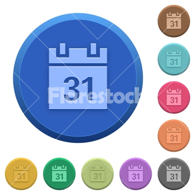 Embossed calendar buttons - Set of round color embossed calendar buttons - Free stock vector