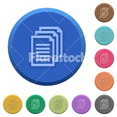 Embossed documents buttons - Set of round color embossed documents buttons