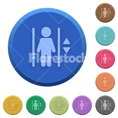 Embossed elevator buttons - Set of round color embossed elevator buttons