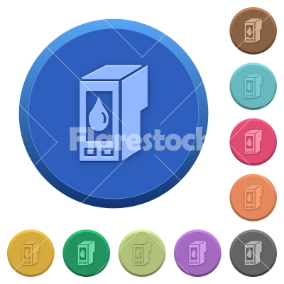 Embossed ink cartridge buttons - Set of round color embossed ink cartridge buttons - Free stock vector