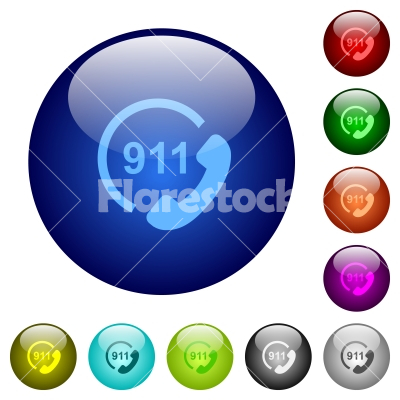 Emergency call 911 color glass buttons - Emergency call 911 icons on round color glass buttons
