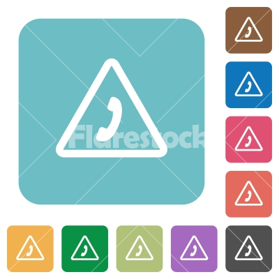 Emergency call rounded square flat icons - Emergency call white flat icons on color rounded square backgrounds