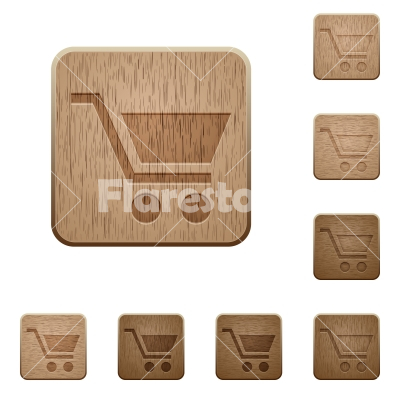 Empty cart wooden buttons - Empty cart on rounded square carved wooden button styles