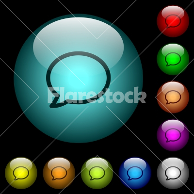 Empty comment bubble icons in color illuminated glass buttons - Empty comment bubble icons in color illuminated spherical glass buttons on black background. Can be used to black or dark templates