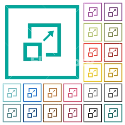 Enlarge window flat color icons with quadrant frames for Window quadrant