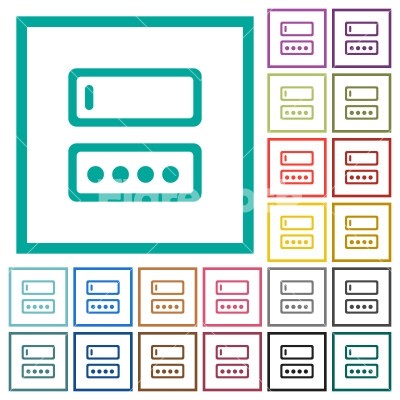Entering login name and password flat color icons with quadrant frames - Entering login name and password flat color icons with quadrant frames on white background