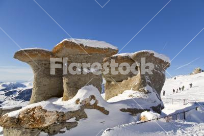Erosion - Wind-carved stone mushrooms (2200 metres) in the Southern Carpathians, in Transylvania (nature reserve)