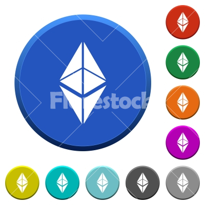 Ethereum classic digital cryptocurrency beveled buttons - Ethereum classic digital cryptocurrency round color beveled buttons with smooth surfaces and flat white icons