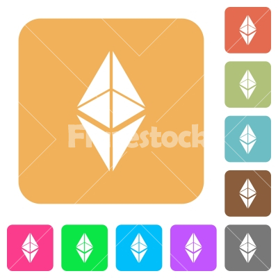 Ethereum classic digital cryptocurrency rounded square flat icons - Ethereum classic digital cryptocurrency flat icons on rounded square vivid color backgrounds.