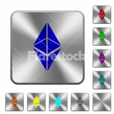 Ethereum classic digital cryptocurrency rounded square steel buttons - Ethereum classic digital cryptocurrency engraved icons on rounded square glossy steel buttons