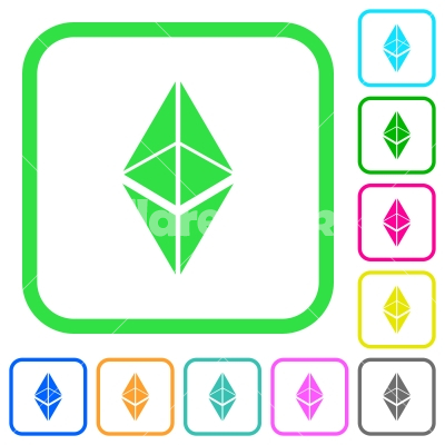 Ethereum classic digital cryptocurrency vivid colored flat icons - Ethereum classic digital cryptocurrency vivid colored flat icons in curved borders on white background