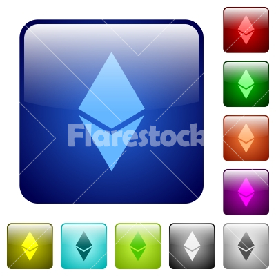 Ethereum digital cryptocurrency color square buttons - Ethereum digital cryptocurrency icons in rounded square color glossy button set