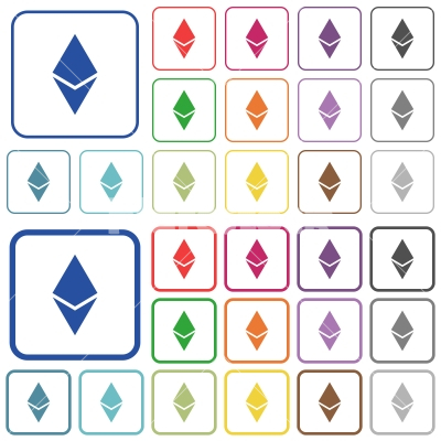 Ethereum digital cryptocurrency outlined flat color icons - Ethereum digital cryptocurrency color flat icons in rounded square frames. Thin and thick versions included.