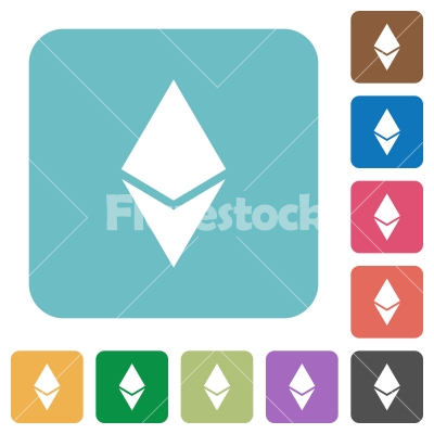 Ethereum digital cryptocurrency rounded square flat icons - Ethereum digital cryptocurrency white flat icons on color rounded square backgrounds
