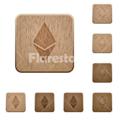 Ethereum digital cryptocurrency wooden buttons - Ethereum digital cryptocurrency on rounded square carved wooden button styles
