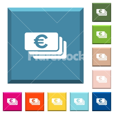 Euro banknotes white icons on edged square buttons - Euro banknotes white icons on edged square buttons in various trendy colors