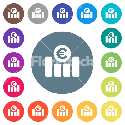 Euro financial graph flat white icons on round color backgrounds - Euro financial graph flat white icons on round color backgrounds. 17 background color variations are included.