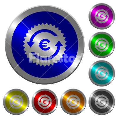 Euro pay back guarantee sticker luminous coin-like round color buttons - Euro pay back guarantee sticker icons on round luminous coin-like color steel buttons