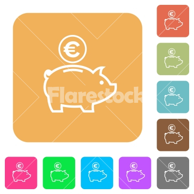 Euro piggy bank rounded square flat icons - Euro piggy bank flat icons on rounded square vivid color backgrounds.