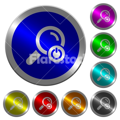 Exit from search luminous coin-like round color buttons - Exit from search icons on round luminous coin-like color steel buttons