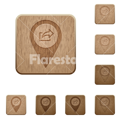 Export GPS map location wooden buttons - Export GPS map location on rounded square carved wooden button styles - Free stock vector