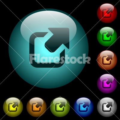 Export symbol with upper right arrow icons in color illuminated glass buttons - Export symbol with upper right arrow icons in color illuminated spherical glass buttons on black background. Can be used to black or dark templates